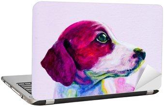 Nálepka na Notebook Buddy Portrét mladého psa, štěně v neonových barvách. Hledá a touží po pozornosti