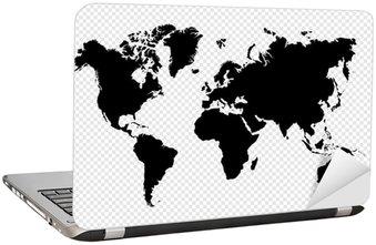 Nálepka na Notebook Černá silueta samostatný mapa světa EPS10 vektorový soubor.