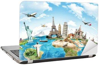 Nálepka na Notebook Cestovat po světě památkovou koncepci