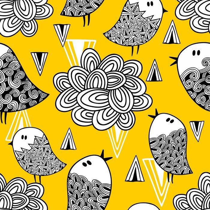 Nálepka na Notebook Creative bezproblémové vzorek s doodle ptáků a designových prvků. - Grafika