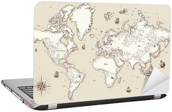 Nálepka na Notebook Detailní, staré mapy s vysokým svět s ozdobnými prvky