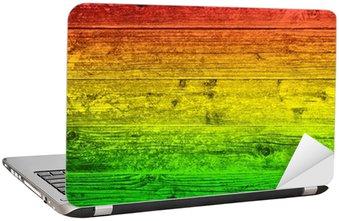 Nálepka na Notebook Dřevěná deska na pozadí v barvách reggae