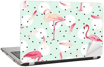 Nálepka na Notebook Flamingo Bird pozadí. Flamingo Peří na pozadí. Retro bezešvé vzor