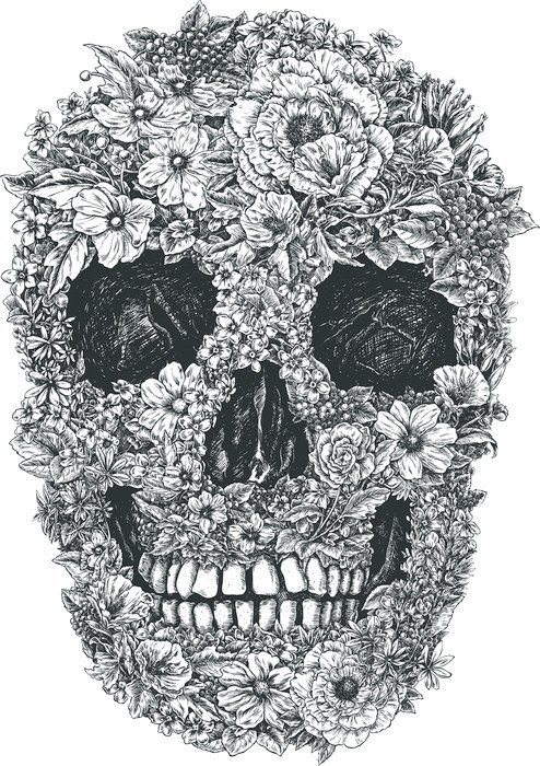 Nálepka na Notebook Flower Skull Vector - Životní styl