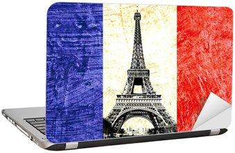 Nálepka na Notebook Francouzská vlajka TOUR EIFFEL