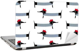 Nálepka na Notebook Francouzský styl pes bezešvé vzor. Roztomilý kreslený pařížský jezevčík vektorové ilustrace. Dítě styl kreslení štěně pozadí. Francouzský styl oblečený pes s červeným baretem a proužkované šatečky.