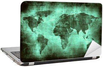Nálepka na Notebook Grunge mapa světa.