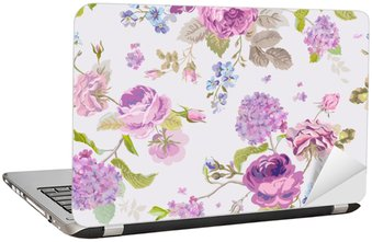 Nálepka na Notebook Jarní květiny pozadí - bezešvé květinový vzor Shabby Chic