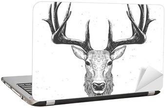 Nálepka na Notebook Jelení hlava na bílém