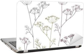 Nálepka na Notebook Kopru nebo fenyklu květy a listy.