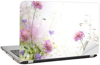 Nálepka na Notebook Krásné pastel květinové hranice - rozmazané pozadí