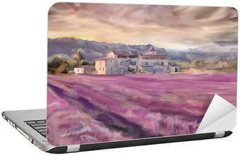 Nálepka na Notebook Lavender pole v Provence. Akvarel