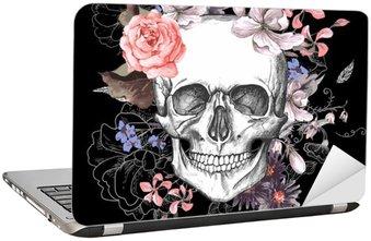 Nálepka na Notebook Lebka a květiny Den mrtvých