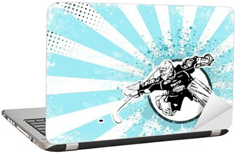 Nálepka na Notebook Lední hokej retro plakát pozadí