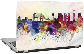 Nálepka na Notebook Lisabon obzor v akvarel pozadí