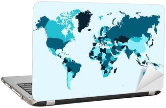 Nálepka na Notebook Mapa světa, modrá země ilustrační EPS10 vektorový soubor.