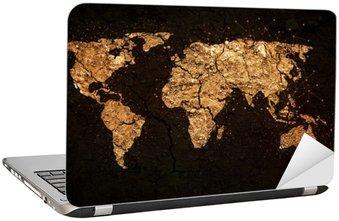 Nálepka na Notebook Mapa světa na pozadí grunge