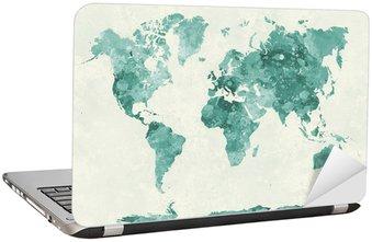 Nálepka na Notebook Mapa světa v akvarel zelené
