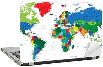 Nálepka na Notebook Mapa světa-země