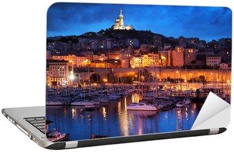 Nálepka na Notebook Marseille, France panorama v noci, přístav.