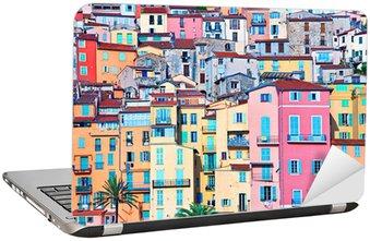 Nálepka na Notebook Menton pastelové barvy domů, Cote d Azur, France