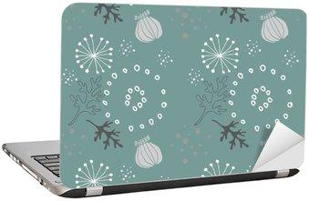 Nálepka na Notebook Modrá květinovým vzorem,