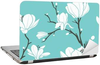 Nálepka na Notebook Modrá magnolia vzor