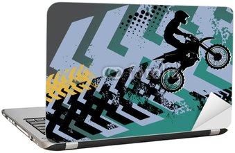 Nálepka na Notebook Motocross pozadí, vektorové ilustrace