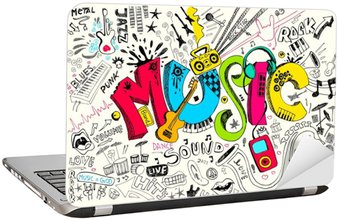 Nálepka na Notebook Music Doodle
