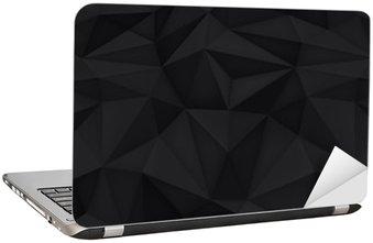 Nálepka na Notebook Nízká polygon tvary pozadí, trojúhelníky mozaiku, vektor design, kreativní pozadí, šablony designu, černé pozadí