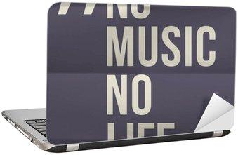 "Nálepka na Notebook ""No music no life"" citace na složil v osmi papírové pozadí"