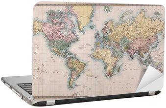 Nálepka na Notebook Old Antique Mapa světa na promítání Mercators