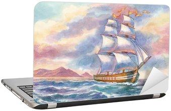 Nálepka na Notebook Přímořská krajina s lodí. Akvarel.