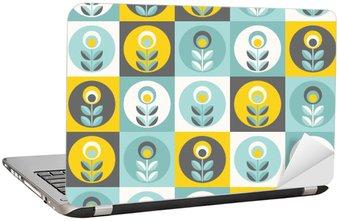 Nálepka na Notebook Retro květinovým vzorem, geometrické bezešvé květiny