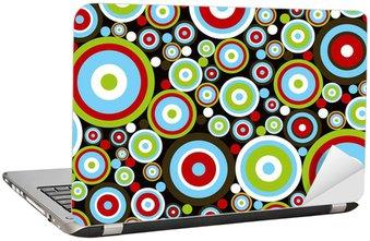 Nálepka na Notebook Retro moc červené, modré zelené kroužky na brown