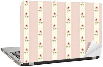 Nálepka na Notebook Roztomilý bezešvé Shabby Chic vzor s růžemi a puntíky ideální pro kuchyňskou textilií nebo ložního prádla textilie, záclony nebo vnitřní tapety design, může být použit pro scrapbooking papír atd