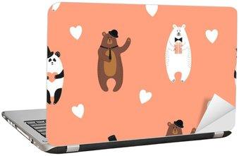 Nálepka na Notebook Roztomilý nese vzor. Bezešvé romantické pozadí s polární medvěd, medvěd hnědý a Panda.