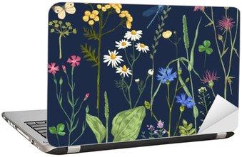 Nálepka na Notebook Ručně kreslenými set s bylinkami a květinami
