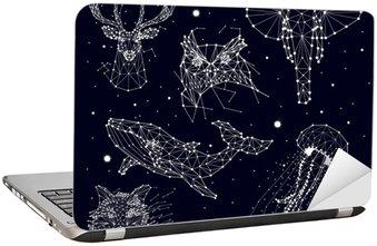 Nálepka na Notebook Sada konstelace, slon, sova, jeleni, velryby, medúzy, liška, hvězdy, vektorová grafika