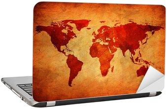 Nálepka na Notebook Staré plátno s mapou světa.