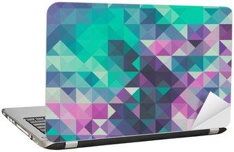 Nálepka na Notebook Trojúhelník na pozadí, zelené a fialové