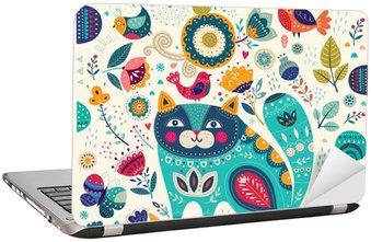 Nálepka na Notebook Vektorové barevné ilustrace s krásná kočka, motýli, ptáci a květiny