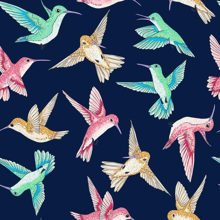 Nálepka na Notebook Vektorové bezproblémové létání malé rajkami konverzační vzoru více barev, jaro letního času, jemný romantické bzučení-pták, Colibrì pozadí celoplošný design tisku - Zvířata