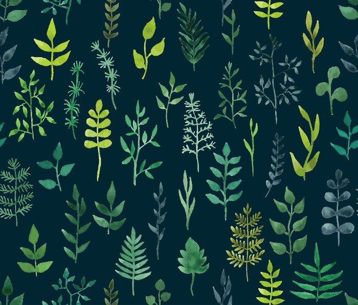 Nálepka na Notebook Vektorové zelené akvarel květinové bezproblémové vzorek. - Grafika