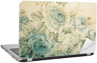 Nálepka na Notebook Vinobraní tapety s modrým květinovým vzorem viktoriánské