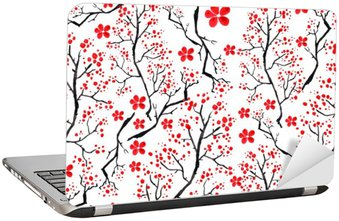 Nálepka na Notebook Vintage akvarel vzor - dekorativní větev třešně, třešeň, rostliny, květiny, prvky. Může být použit v designu, obalů, textilií a tak dále.