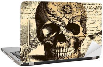 Nálepka na Notebook Vintage Skull pozadí