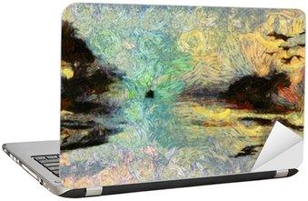 Nálepka na Notebook Vivid Vířící Painting of Islands západu slunce nebo svítání