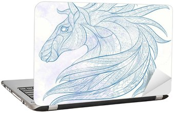 Nálepka na Notebook Vzorované Hlava koně na pozadí grunge. Africká / Ind / totem / tetování design. To může být použit pro návrh trička, tašky, pohlednice, plakát a tak dále.
