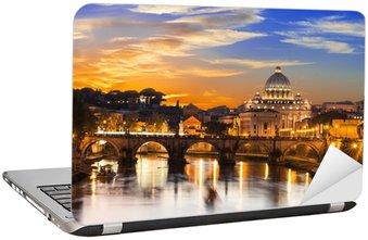 Nálepka na Notebook Západ slunce pohled z baziliky svatého Petra a řeky Tiber v Římě. Itálie